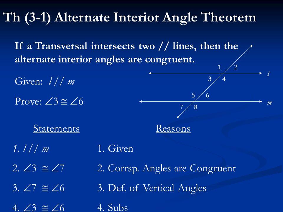 Th (3-1) Alternate Interior Angle Theorem