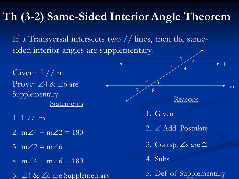 Th (3-2) Same-Sided Interior Angle Theorem