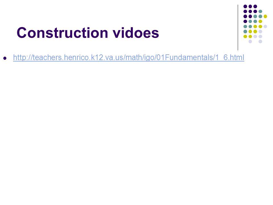 Construction vidoes http://teachers.henrico.k12.va.us/math/igo/01Fundamentals/1_6.html