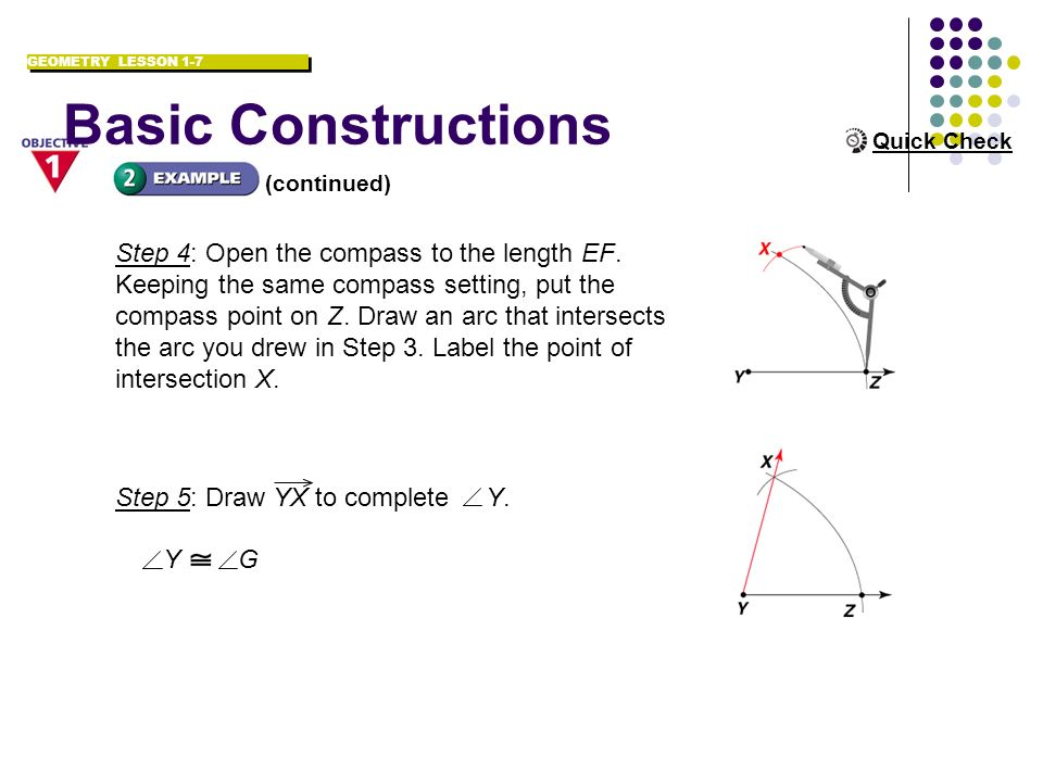 Basic Constructions Step 4: Open the compass to the length EF.