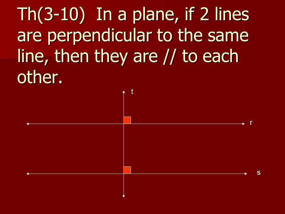 Th(3-10) In a plane, if 2 lines are perpendicular to the same line, then they are // to each other.