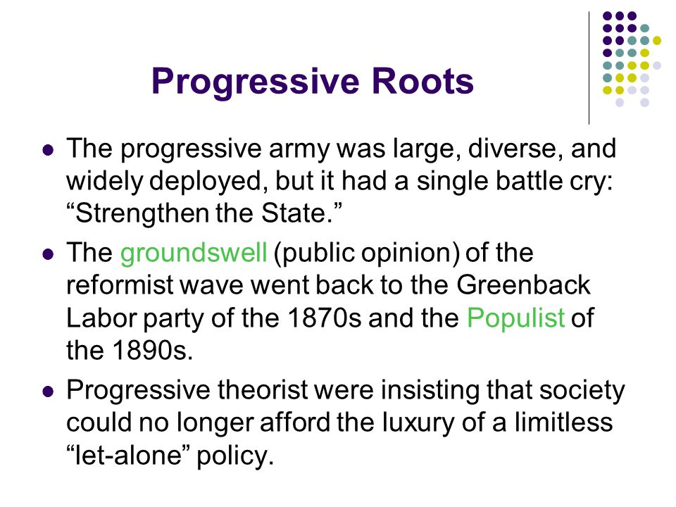 Progressive Roots The progressive army was large, diverse, and widely deployed, but it had a single battle cry: Strengthen the State.