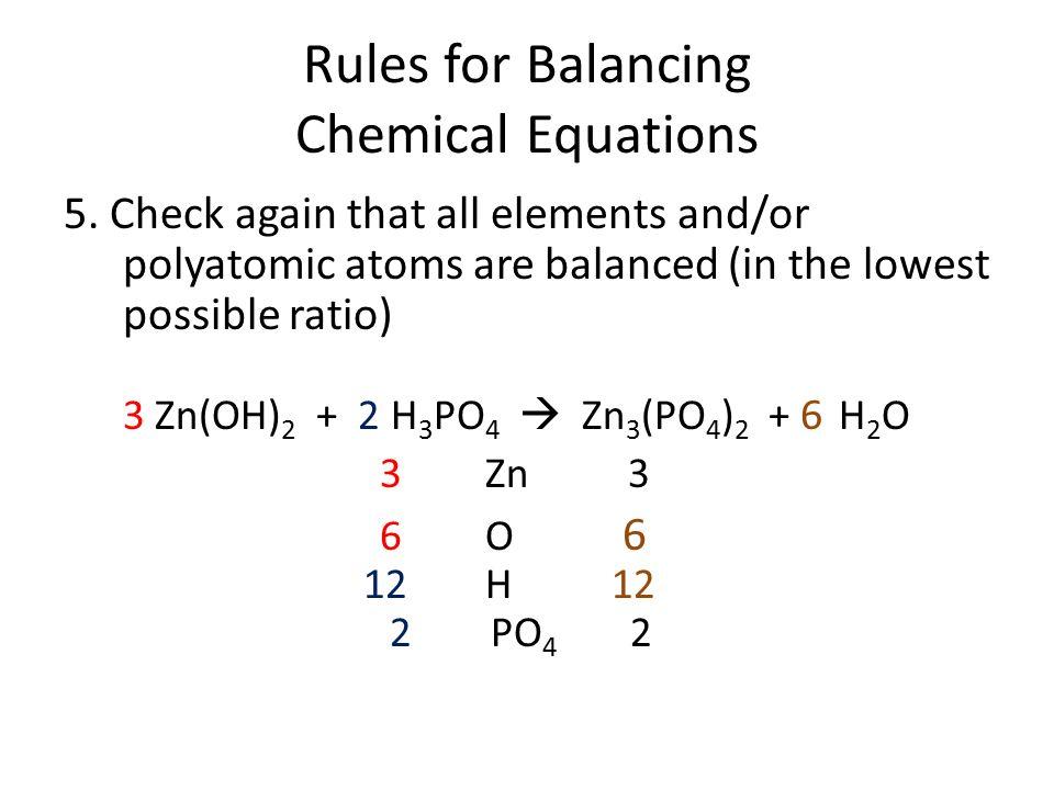 rules for balancing equations pdf