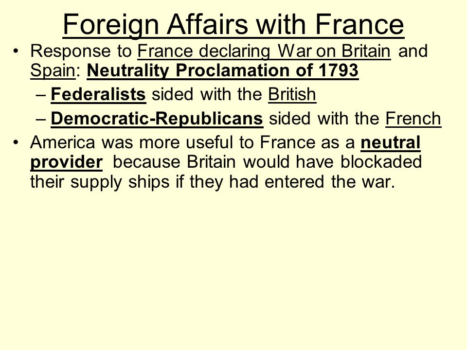 Foreign Affairs with France