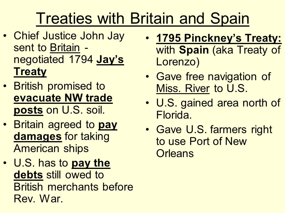 Treaties with Britain and Spain