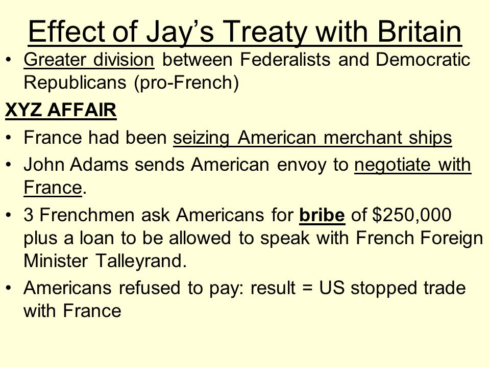 Effect of Jay's Treaty with Britain