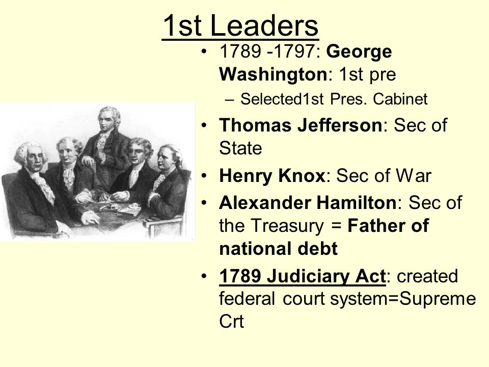 1st Leaders 1789 -1797: George Washington: 1st pre