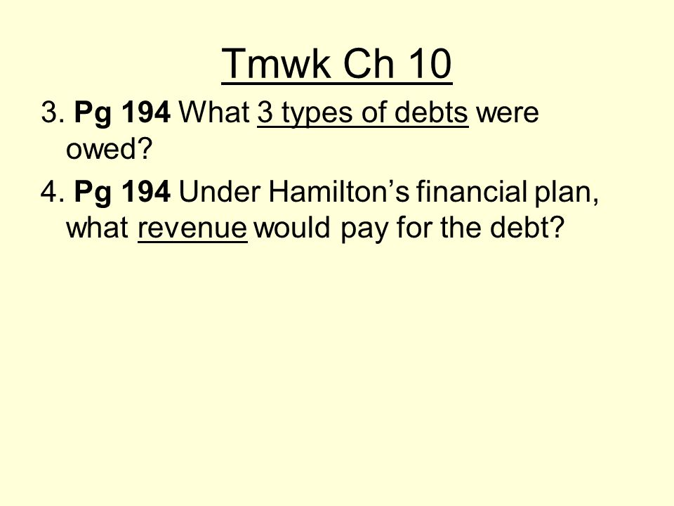 Tmwk Ch 10 3. Pg 194 What 3 types of debts were owed