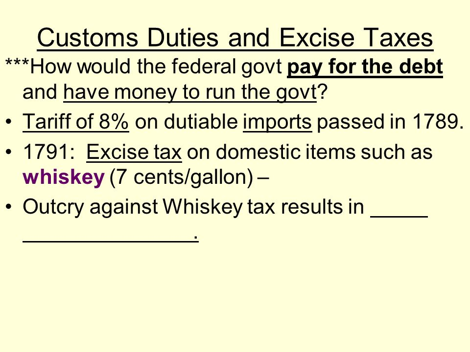 Customs Duties and Excise Taxes