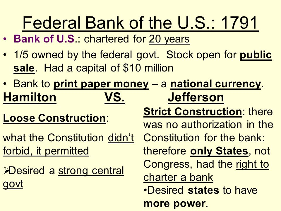 Federal Bank of the U.S.: 1791 Hamilton VS. Jefferson