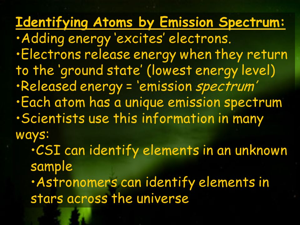Identifying Atoms by Emission Spectrum: