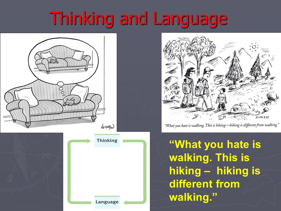 Thinking and Language What you hate is walking.