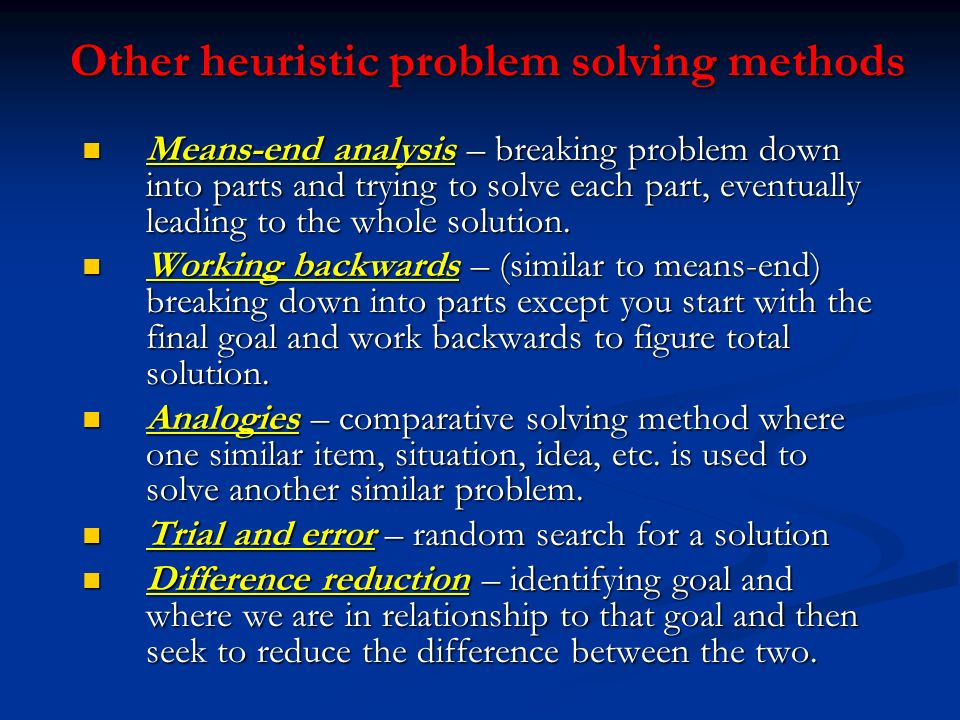 Other heuristic problem solving methods