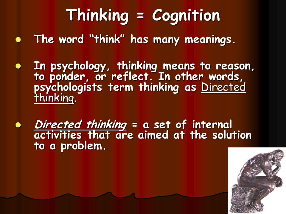 Thinking = Cognition The word think has many meanings.