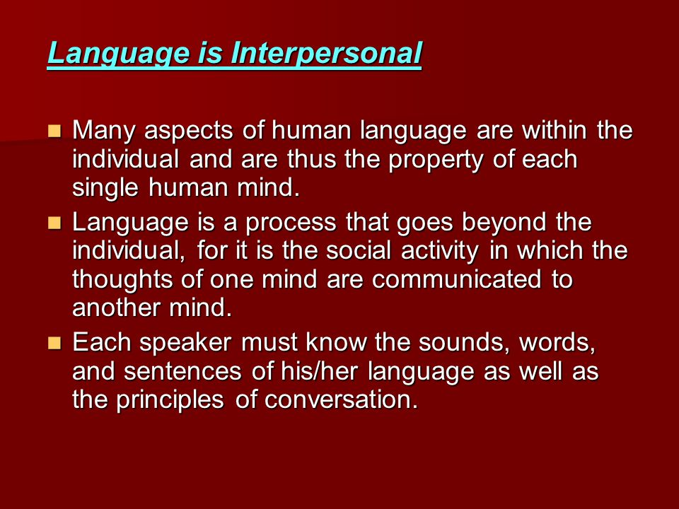 Language is Interpersonal