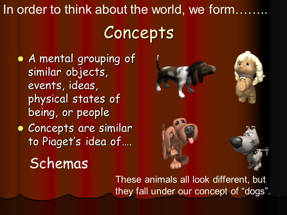 Concepts Schemas In order to think about the world, we form……..