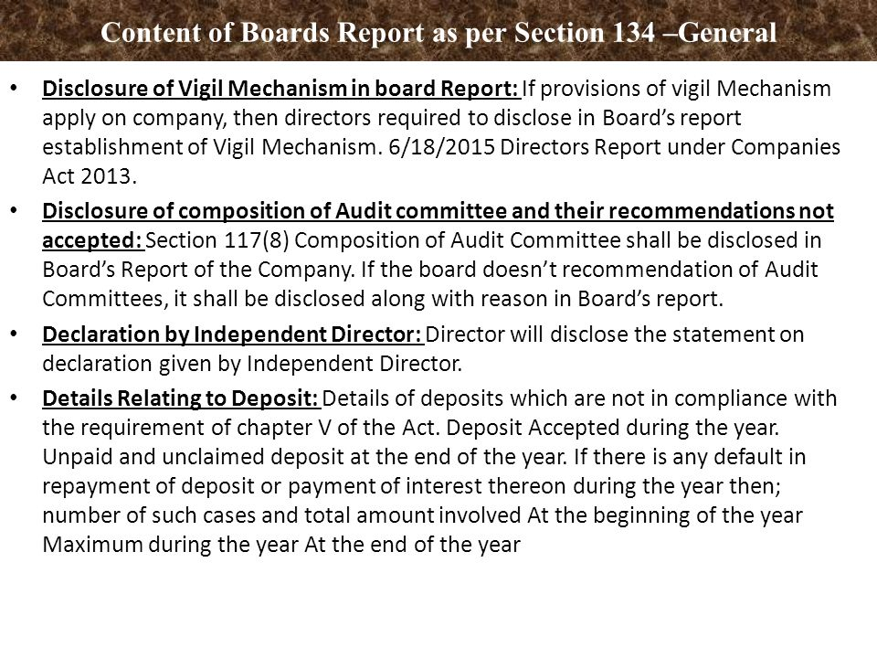 Board of Directors Report Companies Act ppt download – Board Report
