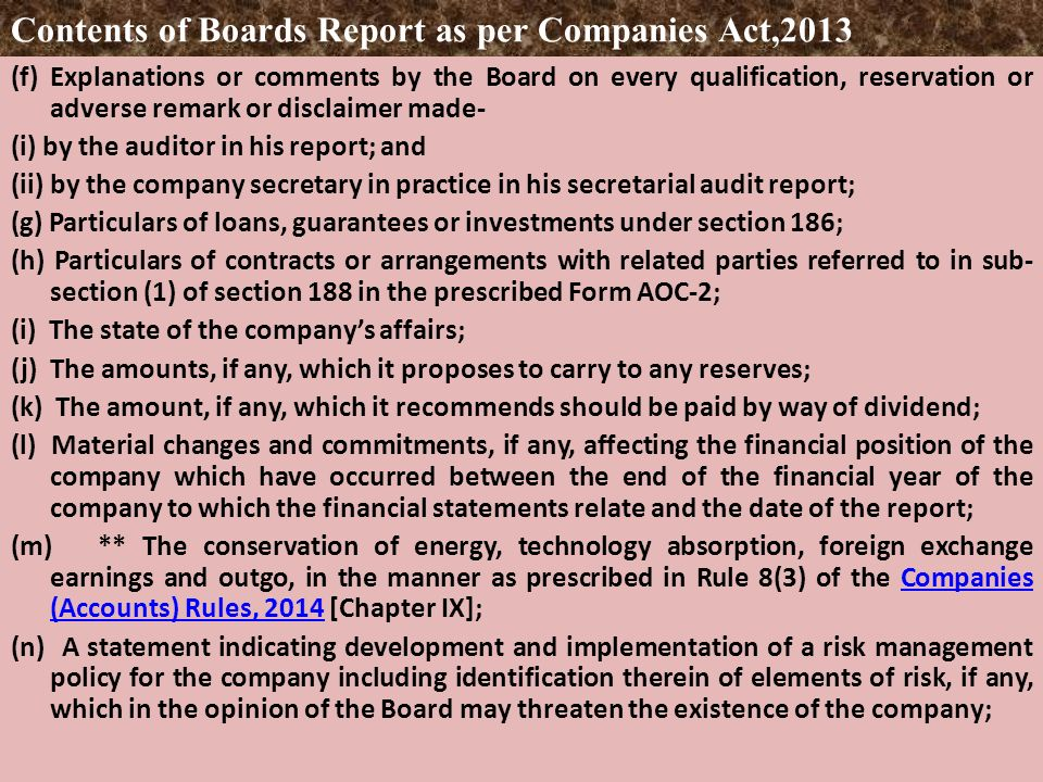 Calendar Year Under Companies Act : Board of directors report companies act ppt download