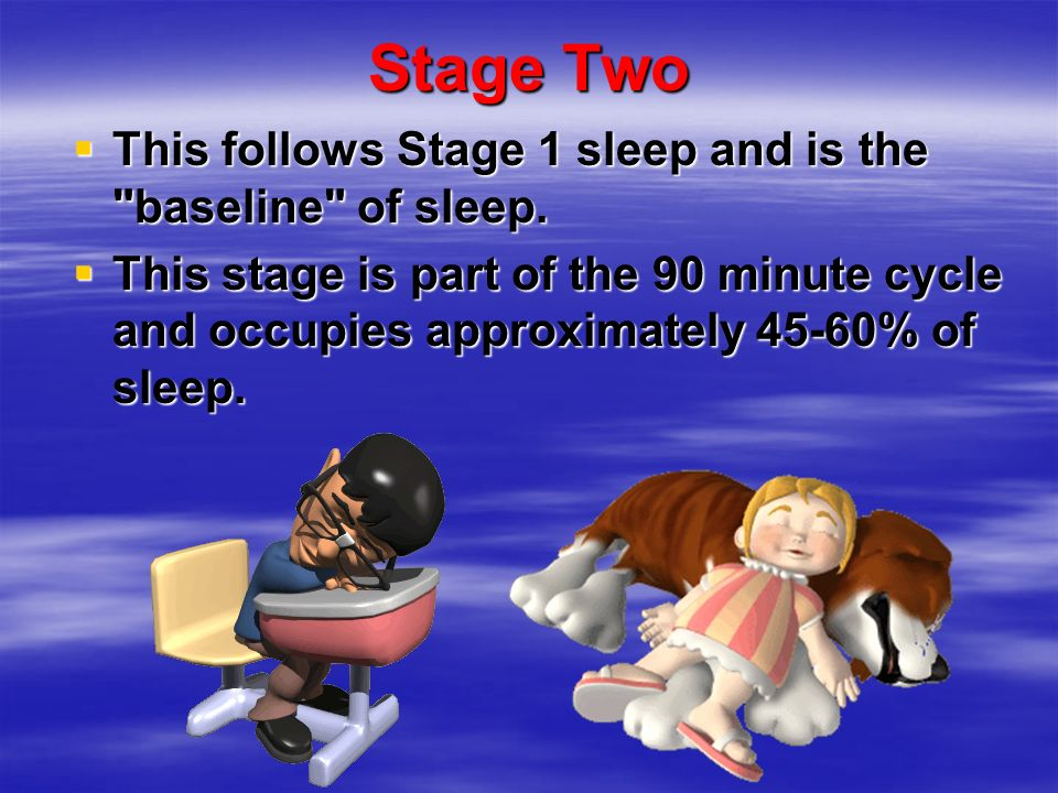 Stage Two This follows Stage 1 sleep and is the baseline of sleep.