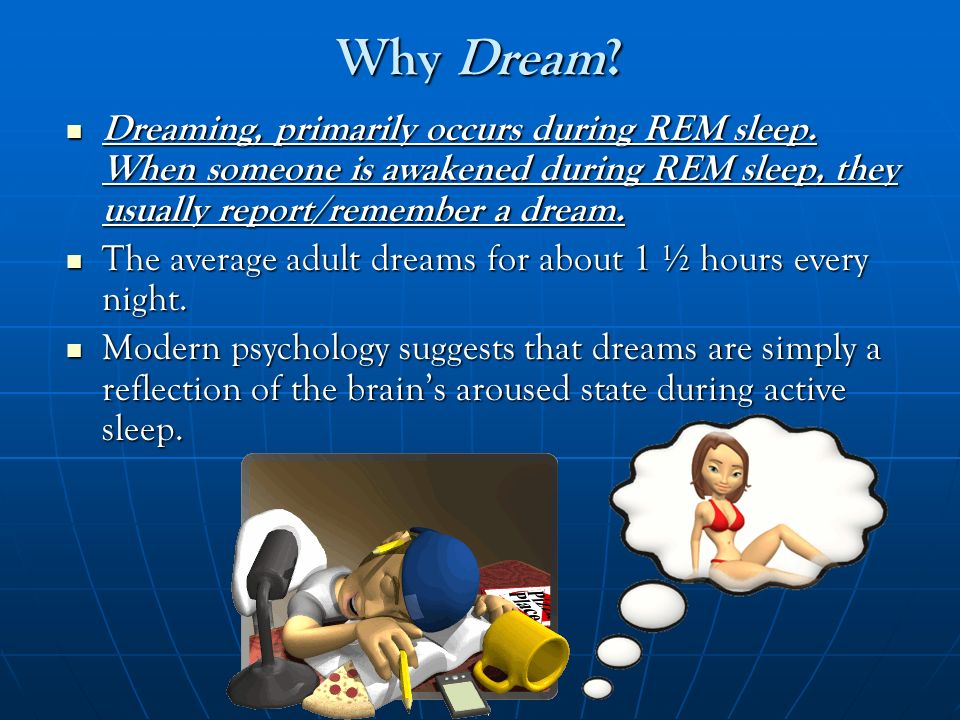Why Dream Dreaming, primarily occurs during REM sleep. When someone is awakened during REM sleep, they usually report/remember a dream.