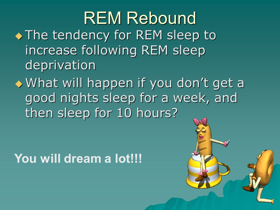 REM Rebound The tendency for REM sleep to increase following REM sleep deprivation.