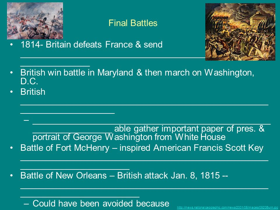 British win battle in Maryland & then march on Washington, D.C.