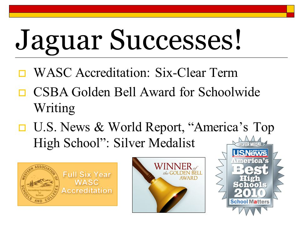 Jaguar Successes! WASC Accreditation: Six-Clear Term