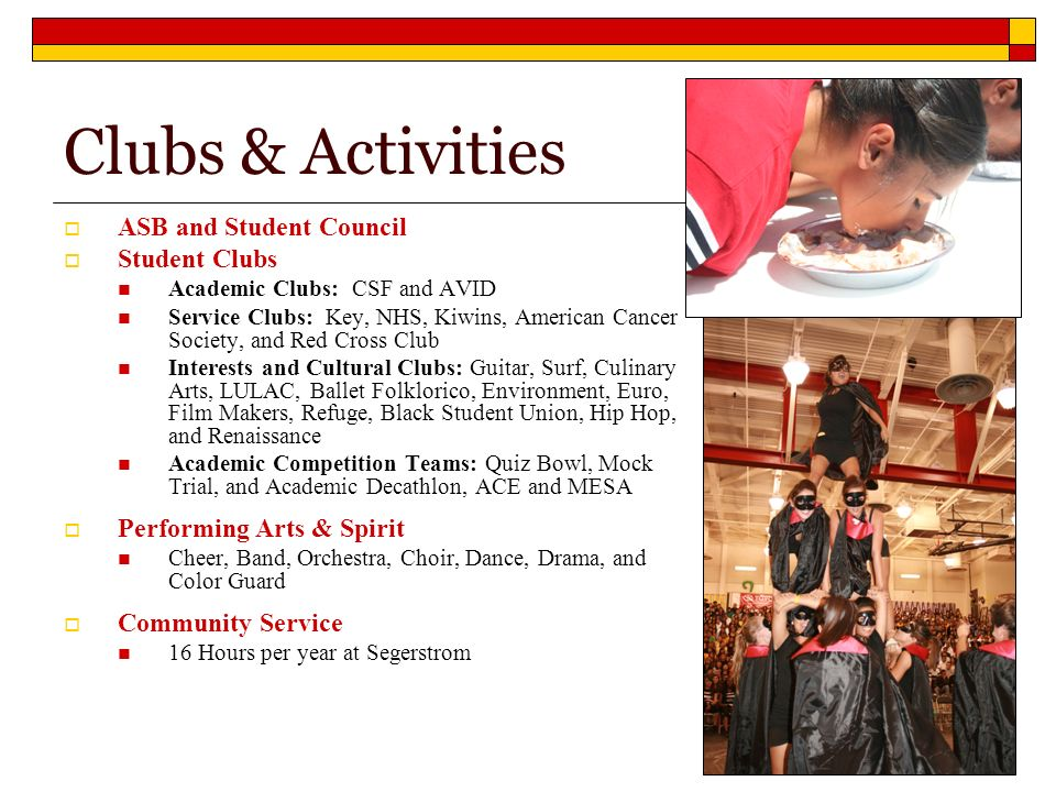 Clubs & Activities ASB and Student Council Student Clubs