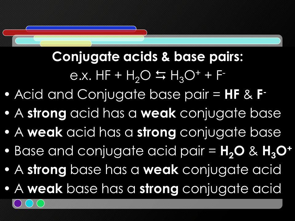 Conjugate acids & base pairs:
