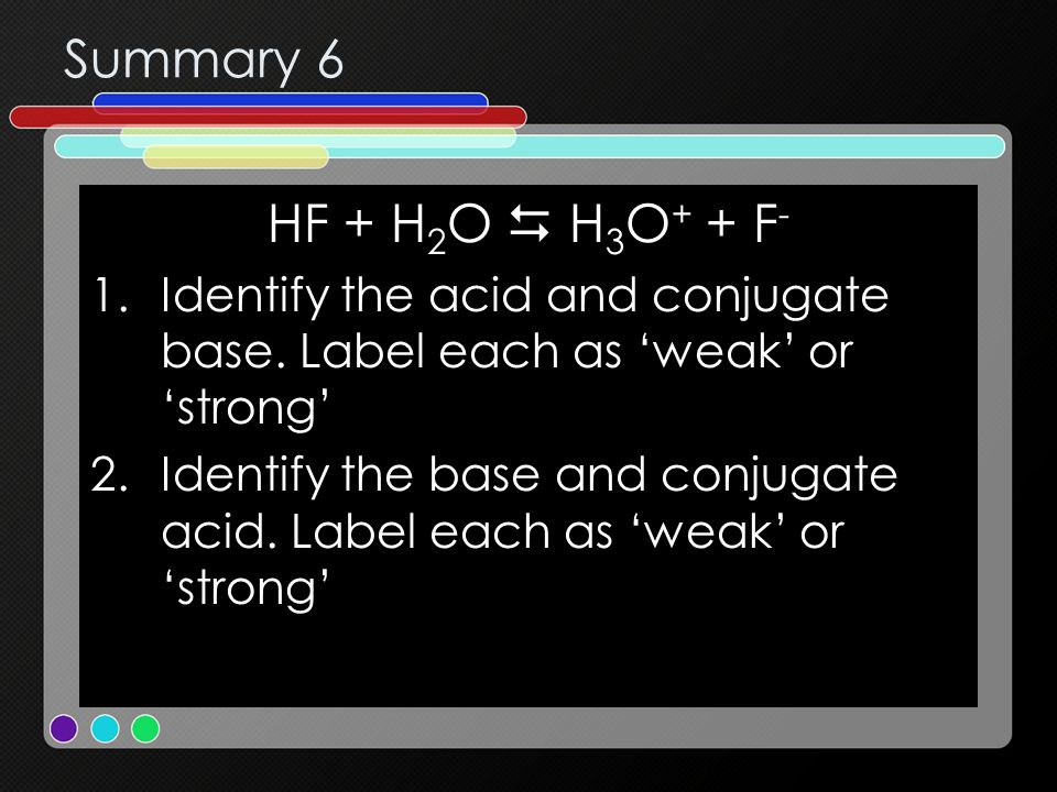 Summary 6 HF + H2O  H3O+ + F- Identify the acid and conjugate base. Label each as 'weak' or 'strong'