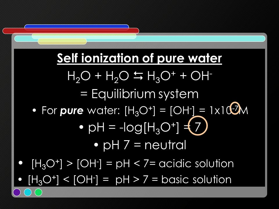 Self ionization of pure water