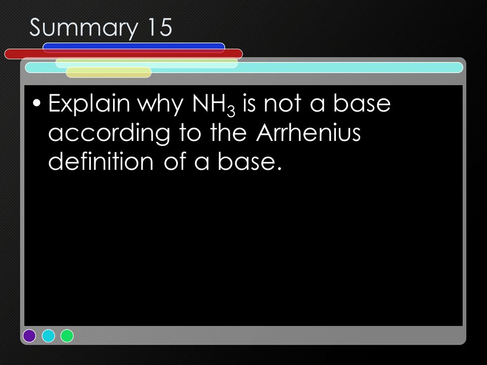 Summary 15 Explain why NH3 is not a base according to the Arrhenius definition of a base.