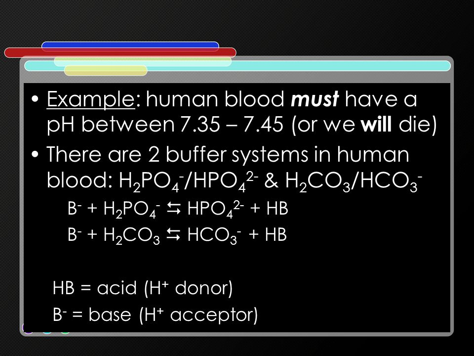 There are 2 buffer systems in human blood: H2PO4-/HPO42- & H2CO3/HCO3-