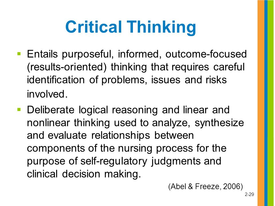 assessing critical thinking in nursing I specifically set out to find one [rubric] for problem solving & critical thinking in nursing for you: i found a guide to help you create your own rubric tool, that is not only a checklist, but also helps you to measure or grade or assess higher order thinking since problem solving is in the realm of higher order of thinking, you.