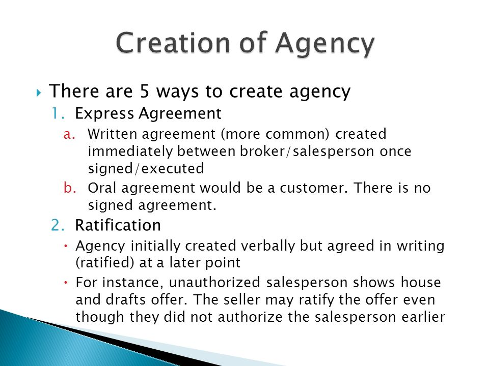 establish an agency relationship by ratification of treaties