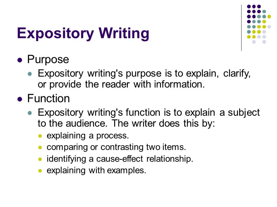 Expository Writing Purpose Function