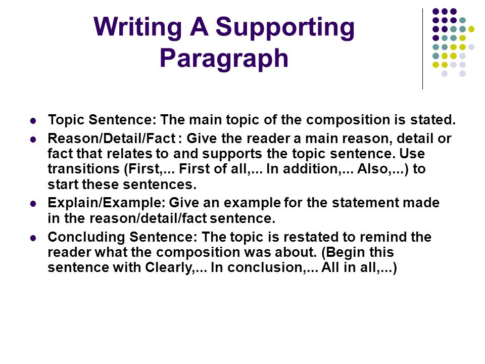 Writing A Supporting Paragraph