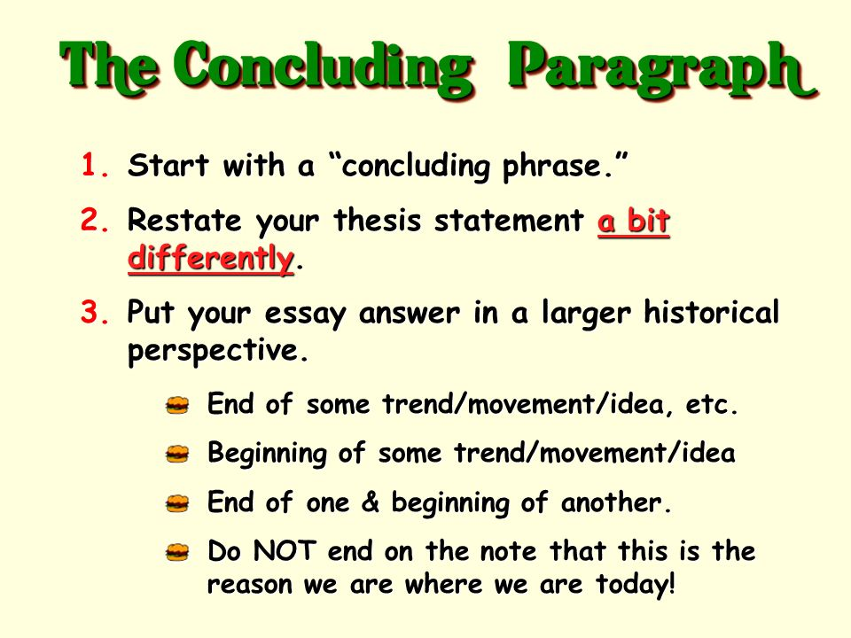 where does the thesis go in a conclusion paragraph The first paragraph serves as kind of a funnel opening to the essay which draws and invites readers into the discussion, which is then focused by the thesis statement before the work of the essay actually begins.