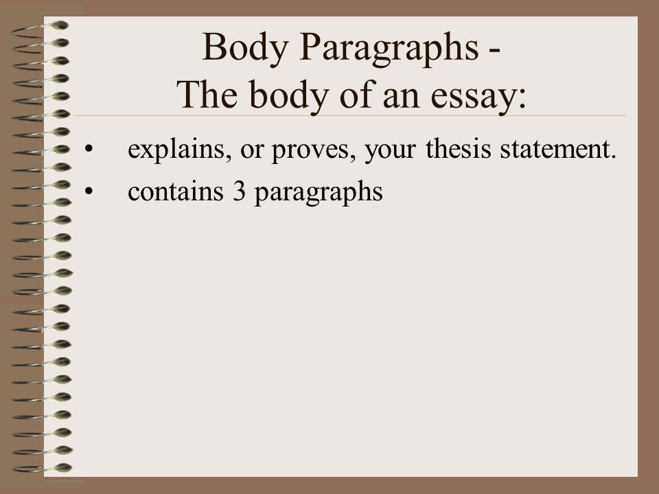 the body of the 5 paragraph essay contains paragraphs The five-paragraph essay is used in all  the body: each of the three paragraphs of the body of a  the final paragraph of your essay body contains your.