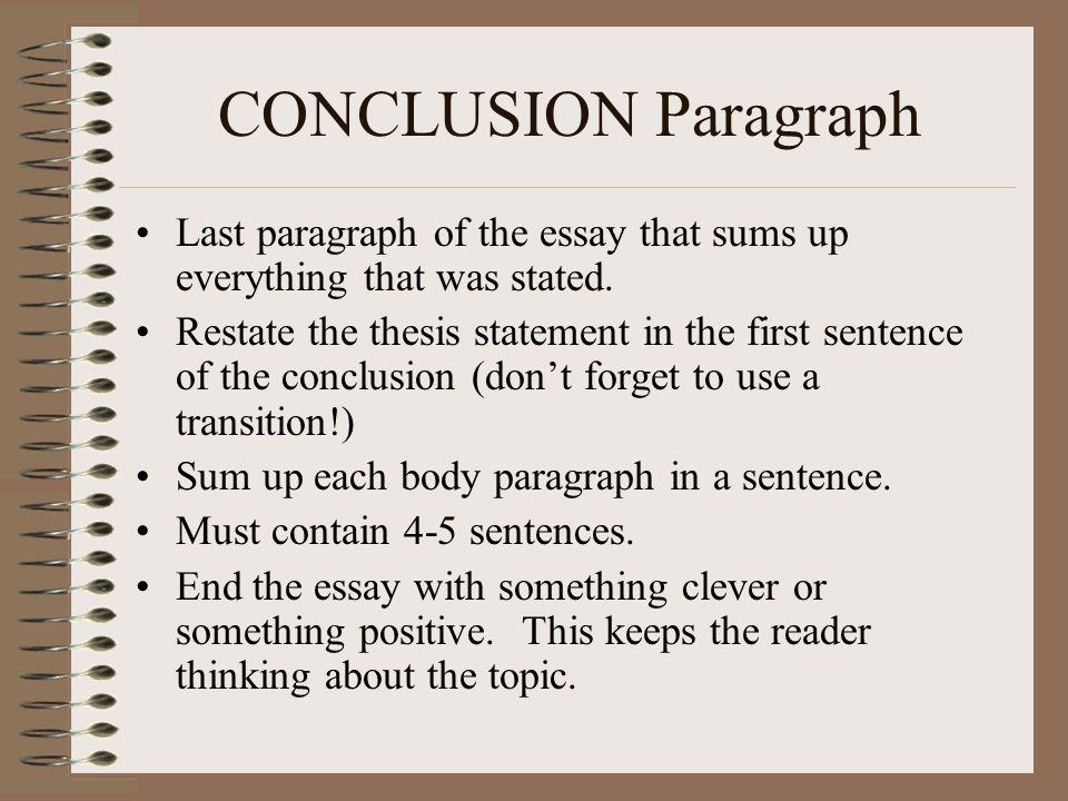 the paragraph essay ppt video online  conclusion paragraph last paragraph of the essay that sums up everything that was stated