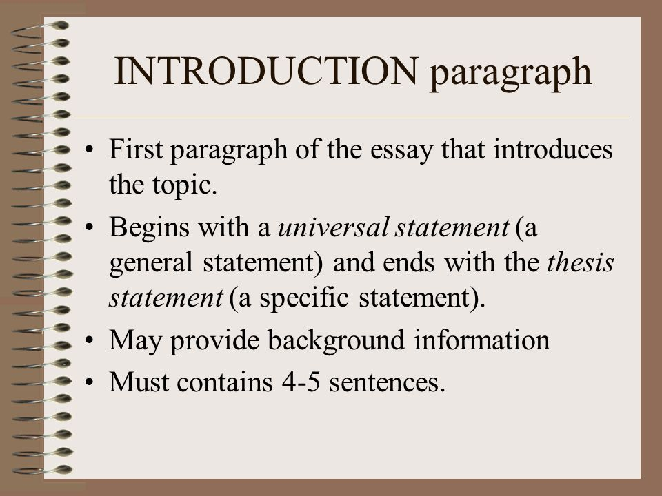 5 paragraph essay introduction Transcript of 5 paragraph essay the ability to write an effective essay is a critical skill to have for: middle school high school introduction paragraph.
