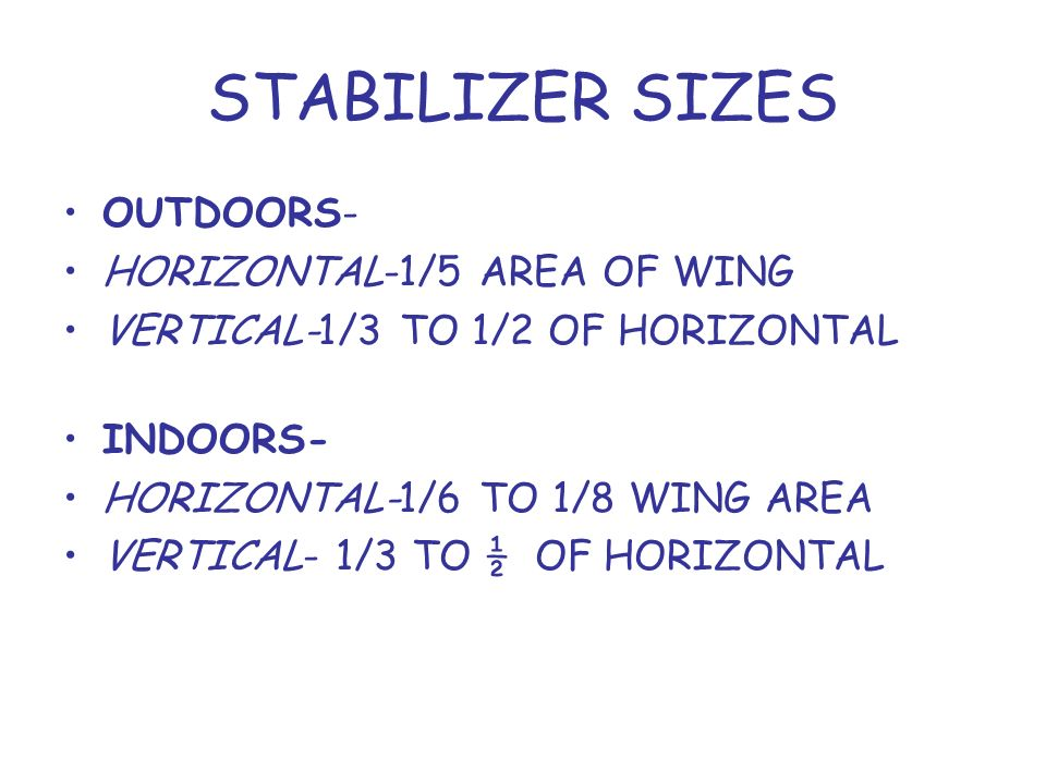 STABILIZER SIZES OUTDOORS- HORIZONTAL-1/5 AREA OF WING