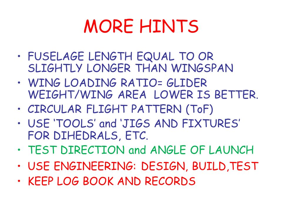MORE HINTS FUSELAGE LENGTH EQUAL TO OR SLIGHTLY LONGER THAN WINGSPAN