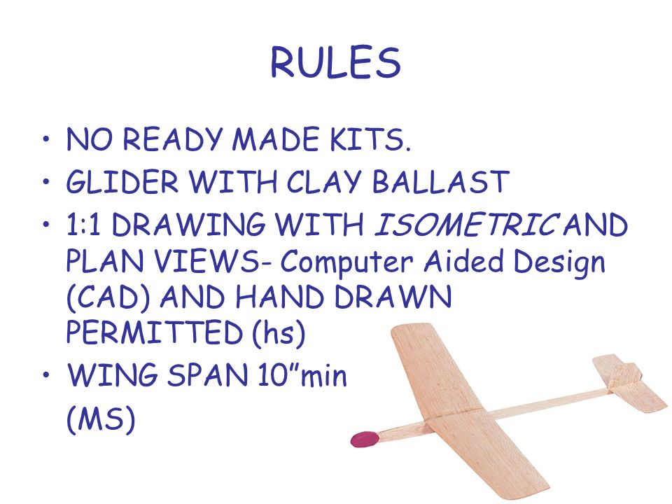 RULES NO READY MADE KITS. GLIDER WITH CLAY BALLAST
