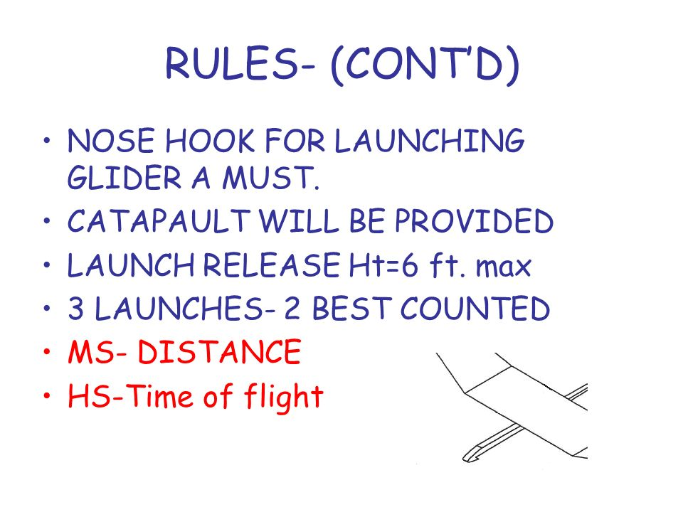 RULES- (CONT'D) NOSE HOOK FOR LAUNCHING GLIDER A MUST.