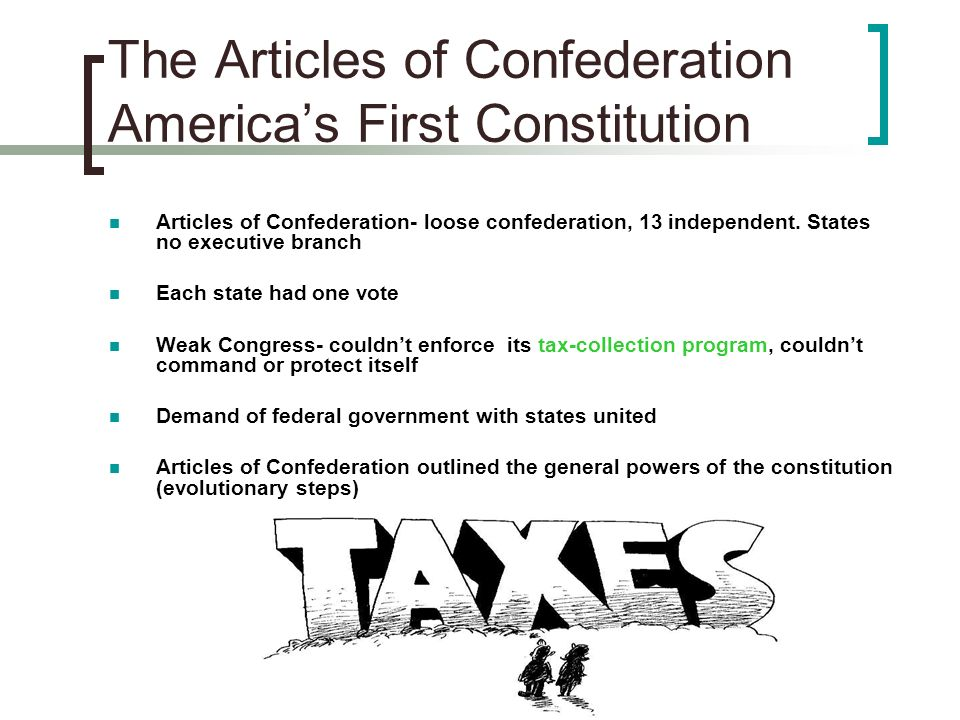 The Articles of Confederation America's First Constitution