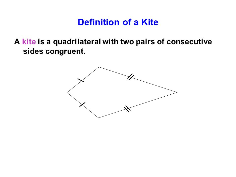 Definition of a Kite A kite is a quadrilateral with two pairs of consecutive sides congruent.