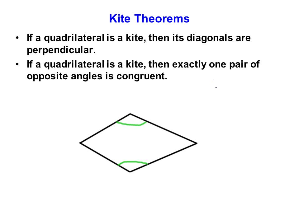 Kite Theorems If a quadrilateral is a kite, then its diagonals are perpendicular.
