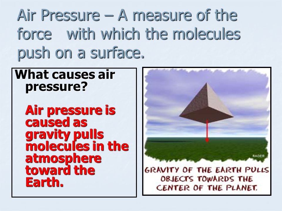 Air Pressure – A measure of the force with which the molecules push on a surface.