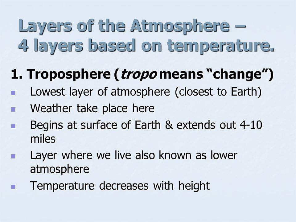 Layers of the Atmosphere – 4 layers based on temperature.